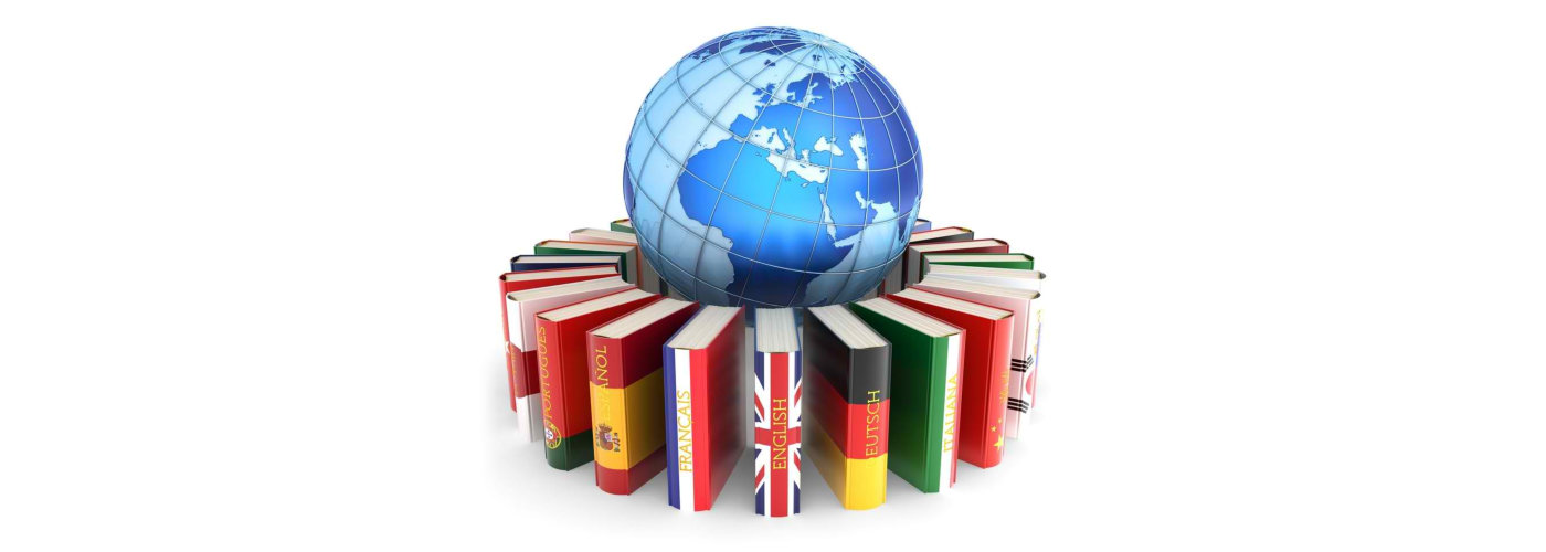 Dictionary books with covers in colors of national flags of world countries around Earth globe on white background